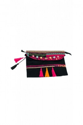 Velour pouch, original and colourful, style, hippie chic pom-pom