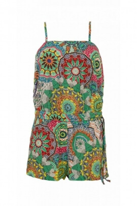 Playsuit shorts casual with thin straps, in viscose lightweight printed mandala colorful
