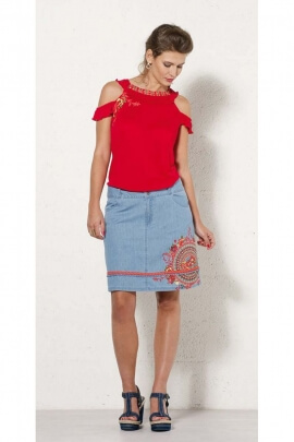 Short skirt jean ethnic and lightweight, this beautiful printed mandala original and colorful