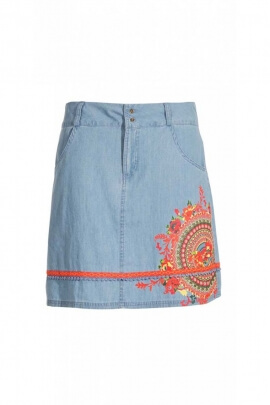 Jupe courte jean ethnique et léger, bel imprimé mandala original et coloré