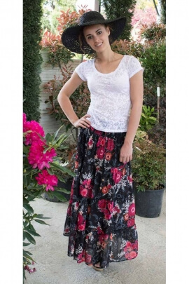 Long skirt ethnic and bohemian, indian-style, in cotton voile, printed and coloured