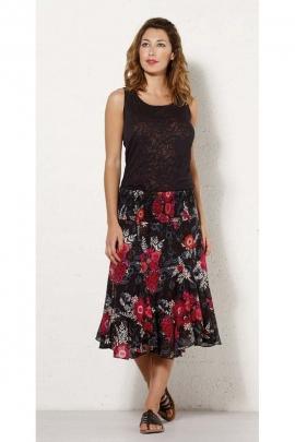 Falda de color voile de algodón, la taza, el twist, de longitud media-larga, impresión de la flor