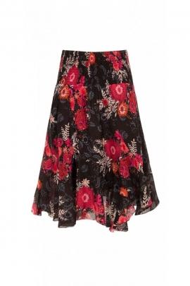 Jupe colorée en voile de coton, coupe twist, longueur mi-longue, impression fleurie