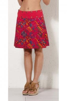 Skirt reversible bohemian, beautiful printed original and belt rivets