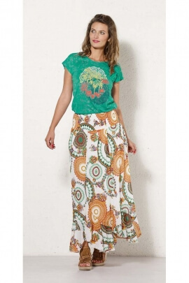 Long skirt ethnic lined, style twist original, all in cotton voile