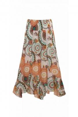 Jupe longue ethnique doublée, style twist original, tout en voile de coton