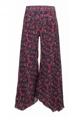 Pantalon sari drapé très élégant et original, style bohème, motif coloré