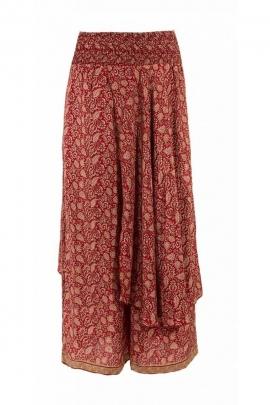 Pantalon sari original, effet surjupe très élégant, style bohème coloré