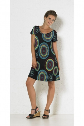 Dress ethnic classic, but original and light, coloured patterns