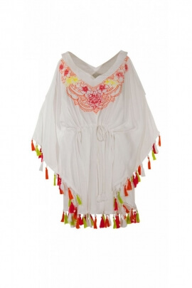 Poncho ethnic veil, bohemian-style embroidery and colourful pom-poms