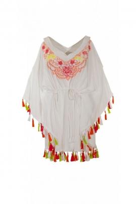 Poncho ethnique en voile, style bohème, broderies colorées et pompons