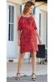 Short dress original bare shoulders, bohemian look, print flower