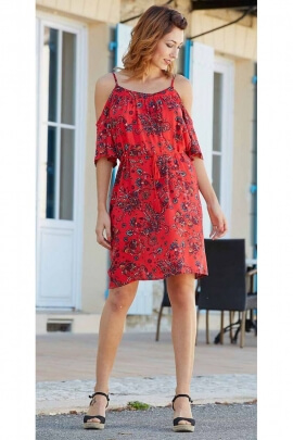 Short dress original bare shoulders, bohemian look, print flower