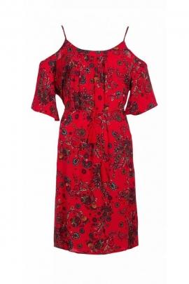 Robe courte originale aux épaules découvertes, look bohème, impression fleurie