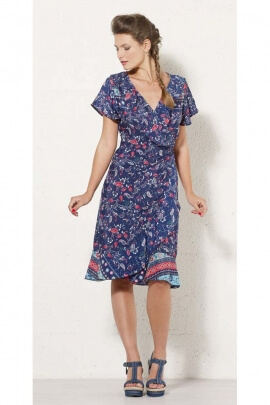 Wrap dress ethnic chic, printed, Osa, bohemian-style