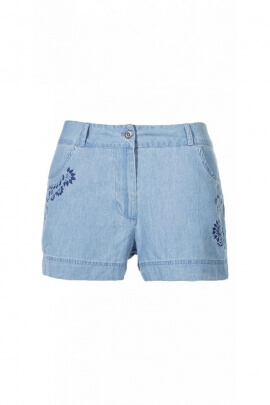 Jean shorts lightweight cotton, printed in pocket, style bohemian