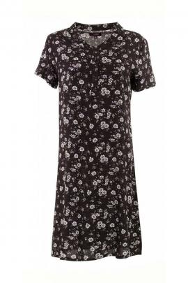 Robe courte ethnique en viscose, manches courtes, motifs fleuris