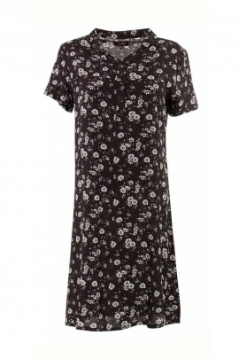 Short dress ethnic viscose, short sleeves, flower patterns