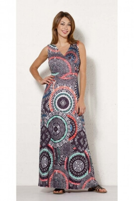 Long dress bohemian-style with chest cross dress with colorful patterns