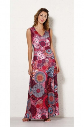 Long dress ethnic print hypnotic original, links to tie at the back