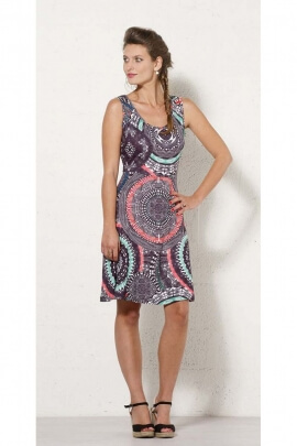 Short dress ethnic summer, round neck, on-trend look and colorful