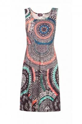 Robe courte ethnique d'été, col rond, look tendance et colorée