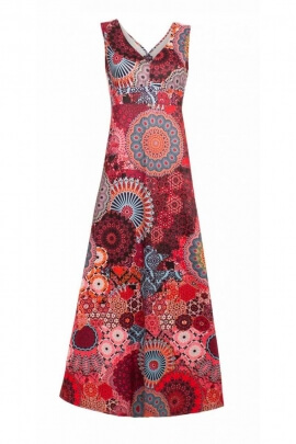 Long dress bohemian printed hypnotic colored with V-neck