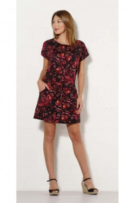 Short dress flower-original, small sleeves ball and belt at the waist