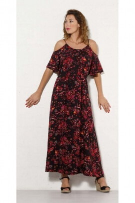 Long dress bohemian printed something oriental original, shoulders