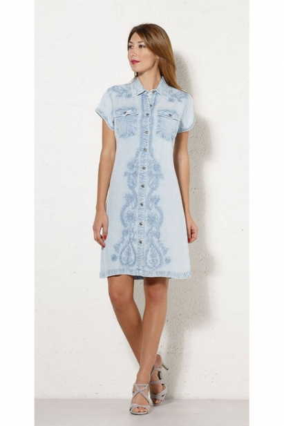 Dress ethnic viscose washed-out looking, with short sleeves, printed original