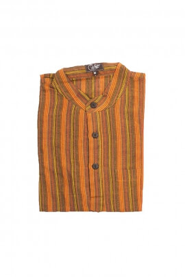 Camisa de algodón Nepal rayas setenta-hombre