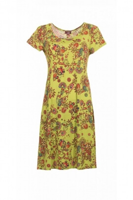 Dress casual and comfortable with small sleeves, floral pattern colorful