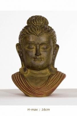 Statue head of Gautama Buddha, bronze color, resin, high quality
