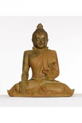 Seated Statue of Gautama Buddha, statue, craft, bronze color