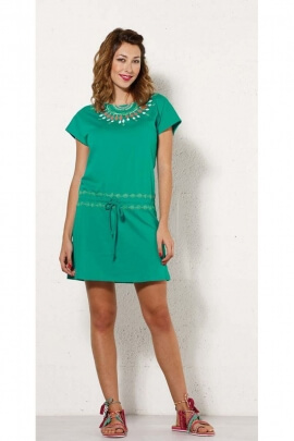 Short dress in cotton jersey, printed original necklace, style guatemala