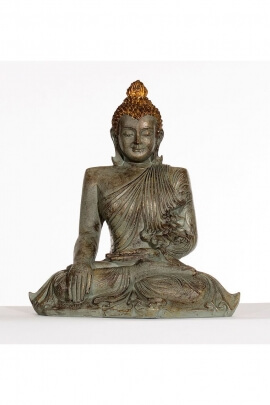 Statue assise de Bouddha Gautama, couleur argent, décoration originale