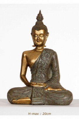 Statue sitting Buddha in meditation mudra, gold-coloured, resin artistic