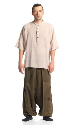 Chemise homme coton kurta uni manches courte