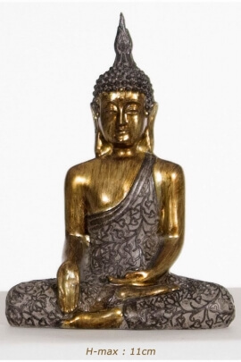 Sitting Buddha Statue in miniature, in a position of meditation awakening