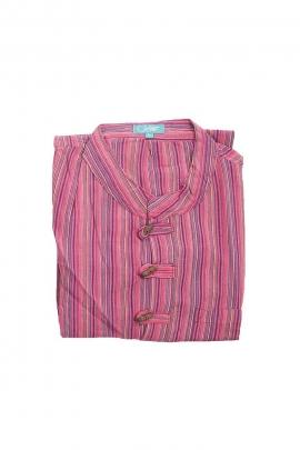 Camisa de hombre kurta de algodón Nepal rayas botones de coco