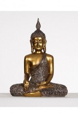 Statue of seated Buddha, meditation, zen, resin and gold color