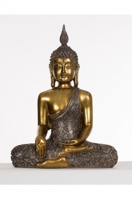 Statue of Buddha, seated position of meditation, serenity, gold color