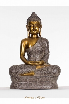 Statue of Buddha sitting on a pedestal, resin arts, meditation posture