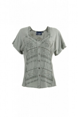 Blouse bohemian original, lace and small buttons, finish stone wash