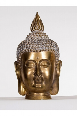 Statue head of Buddha thai, wisdom and serenity, resin color gold