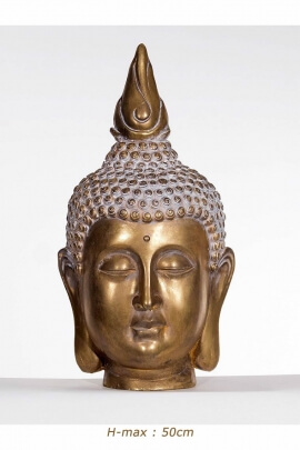 Statue head Buddha from Thailand, resin color: gold, peace, and serenity