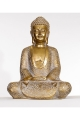 Statue of Gautama Buddha sitting in position for meditation, in resin, golden