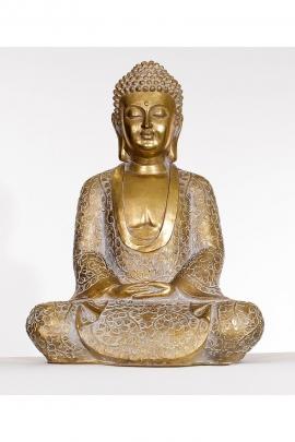 Estatua de Gautama Buda sentado en posición de meditación, de resina, de oro