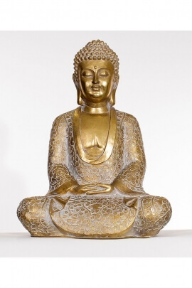 Statue of Gautama Buddha sitting in position for meditation, in resin, golden