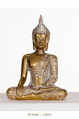 Statue of Buddha seated in the position of awakening positive, deco asian interior